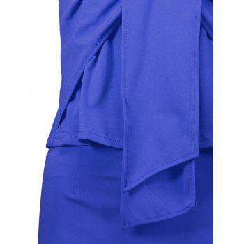 Sleeveless Ruched Sheath Two Piece Dress - BLUE BLUE