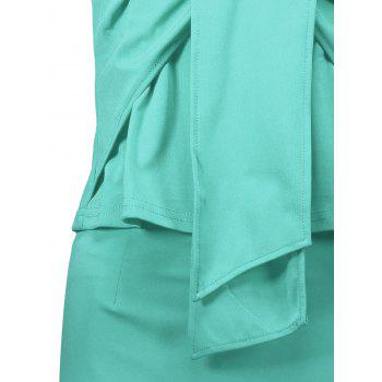 Sleeveless Ruched Sheath Two Piece Dress - LAKE GREEN XL