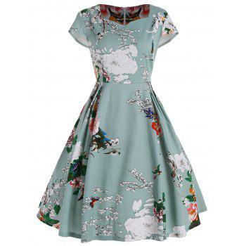 Floral Fit and Flare Plus Size Dress - LIGHT GREEN LIGHT GREEN