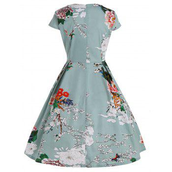 Floral Fit and Flare Plus Size Dress - LIGHT GREEN 2XL