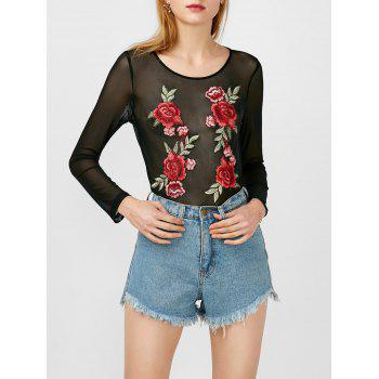 Flower Applique Mesh Bodysuit