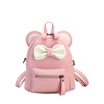 Ear Bowknot Faux Leather Backpack