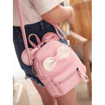 Ear Bowknot Faux Leather Backpack - PINK