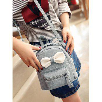 Ear Bowknot Faux Leather Backpack - GRAY