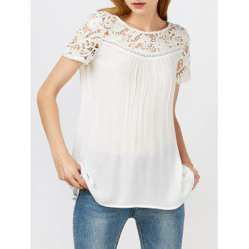 Lace Panel Hollow Out Criss Cross Flowy Blouse