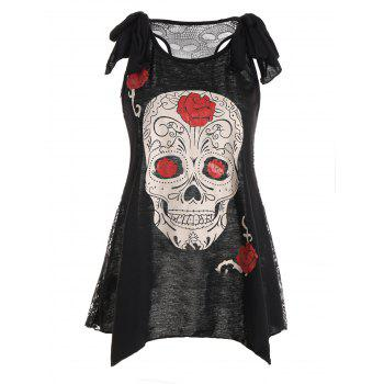 Lace Panel Skulls See Thru Top