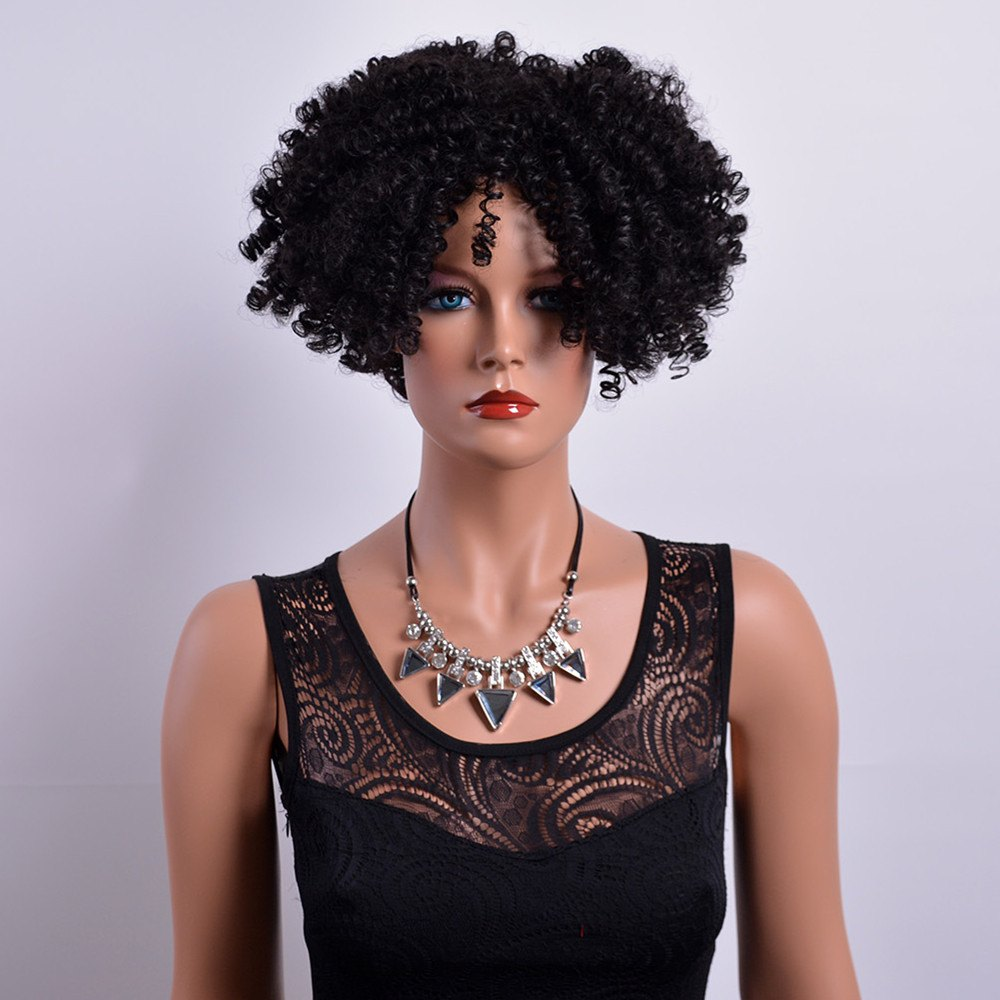 Fluffy Capless Short Afro Curly Side Bang Synthetic Wig - BLACK