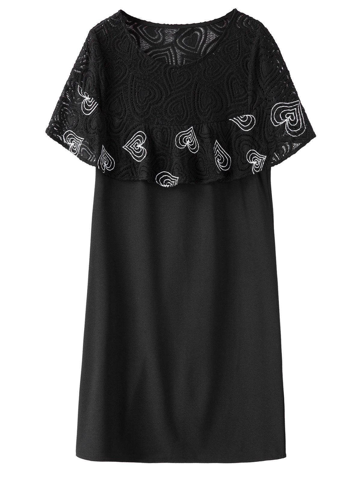 Lace Trim Ruffle Plus Size Dress - BLACK 4XL
