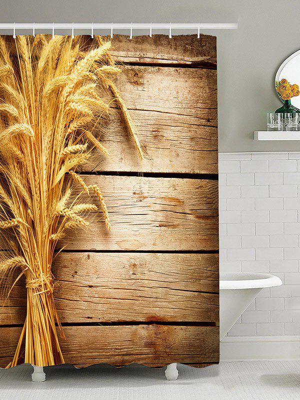 3D Wheat Wooden Printed Waterproof Shower Curtain 109 wheat