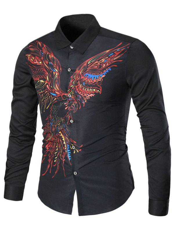 Turndown Collar Long Sleeve Eagle Graphic Print Cool Shirt - BLACK M