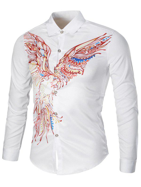Turndown Collar Long Sleeve Eagle Graphic Print Cool Shirt - WHITE XL