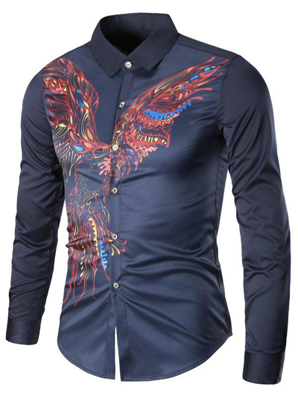 Turndown Collar Long Sleeve Eagle Graphic Print Cool Shirt - CERULEAN L