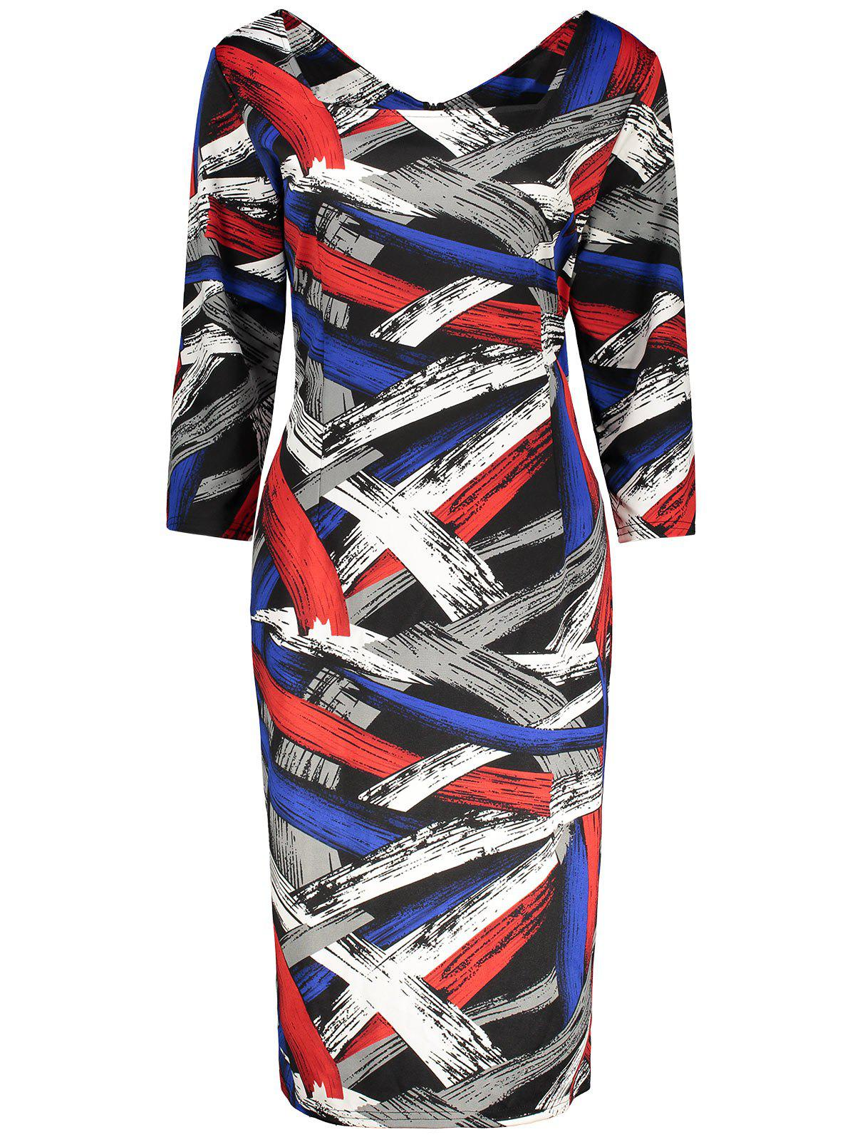 Plus Size Print Knee Length Fitted Dress - COLORMIX 4XL