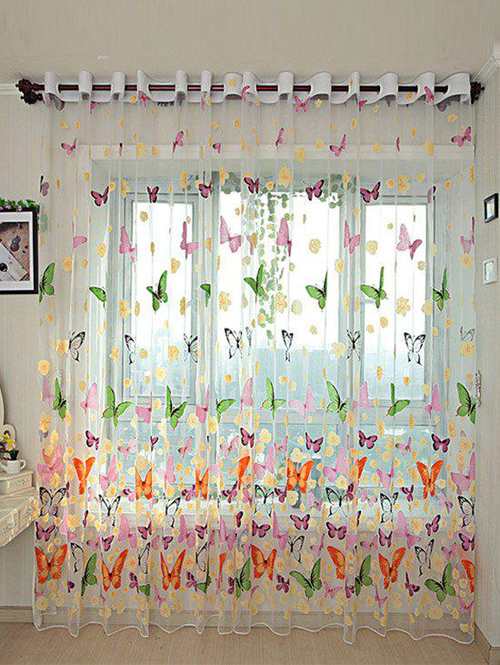 Butterfly Flower Sheer Window Curtain - FLORAL W40INCH*L79INCH