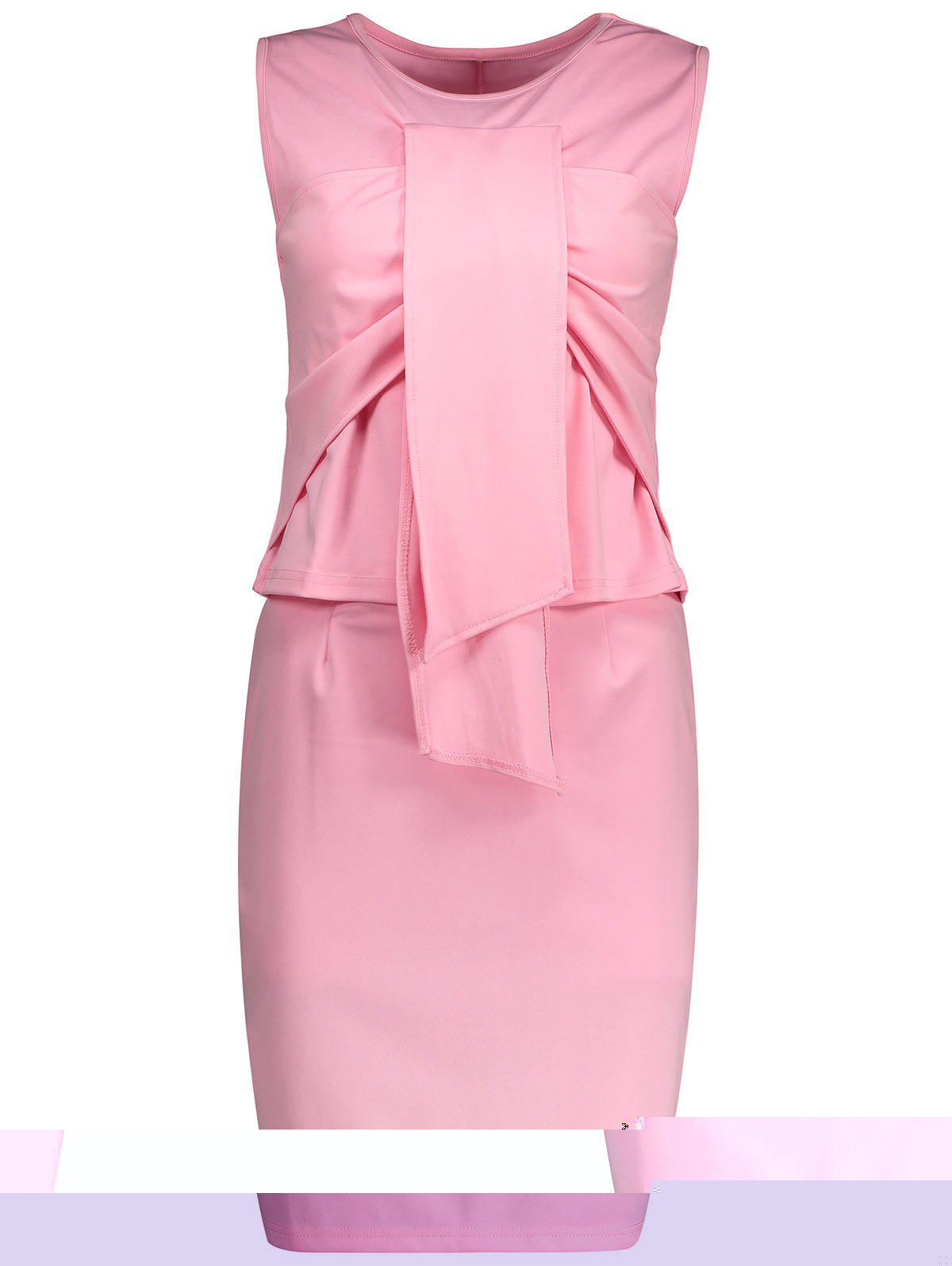 Robe en mousseline à manches courtes sans gaine - Rose M