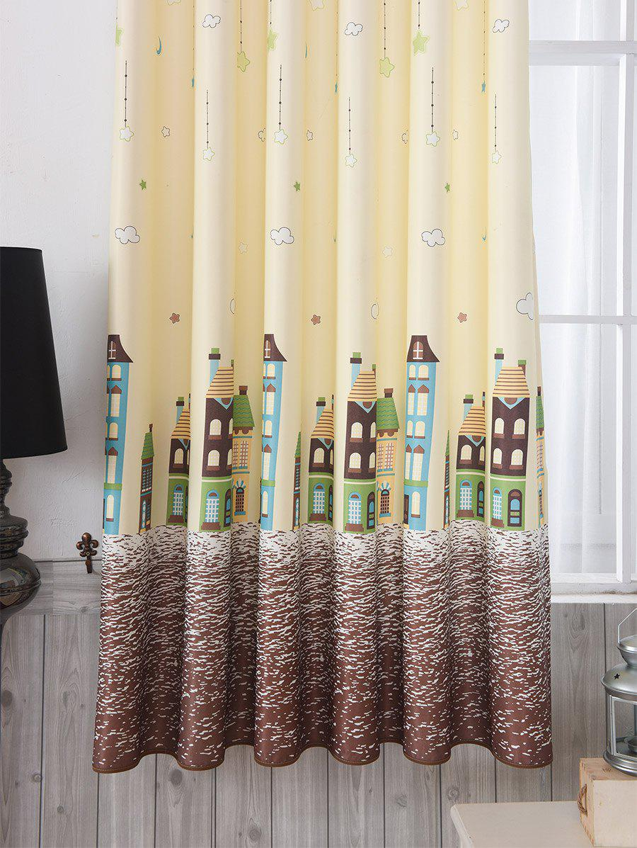 Tower Star Print Window Curtain - LIMEADE W40INCH*L79INCH
