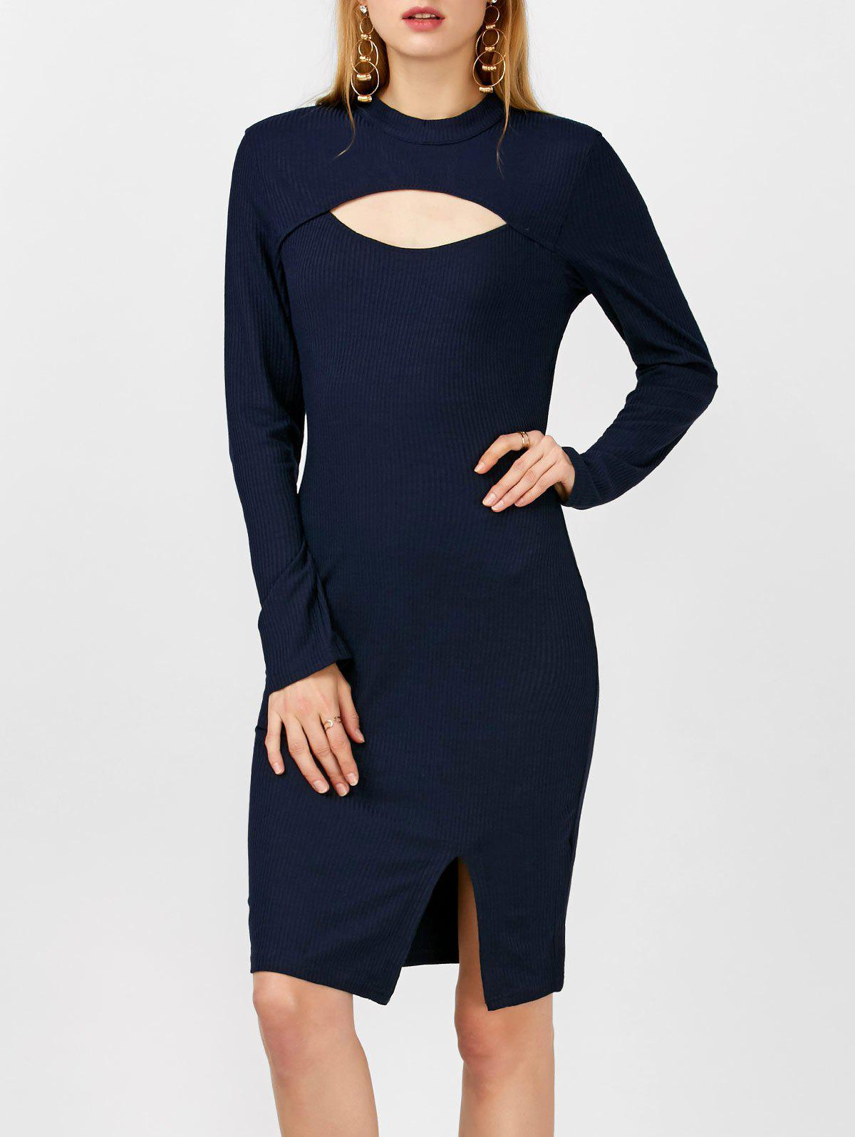 Mock Neck Ribbed Cutout Bodycon Slit Dress With Long Sleeves 211135305