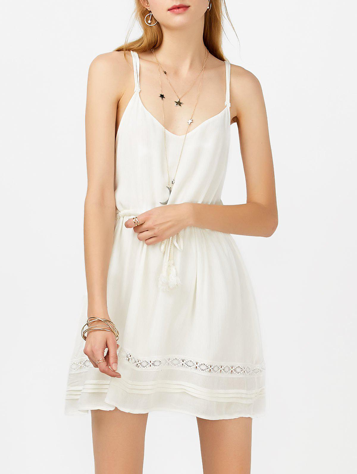 Tasseled Drawstring Mini Slip Sundress - Blanc XL