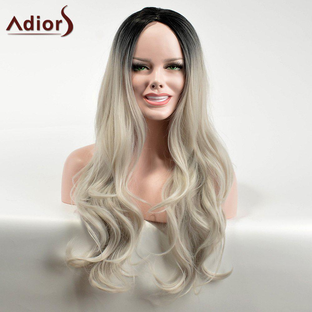 Adiors Long Ombre Middle Part Wavy Dark Root Synthetic Wig adiors long middle part ombre wavy synthetic cosplay lolita wig
