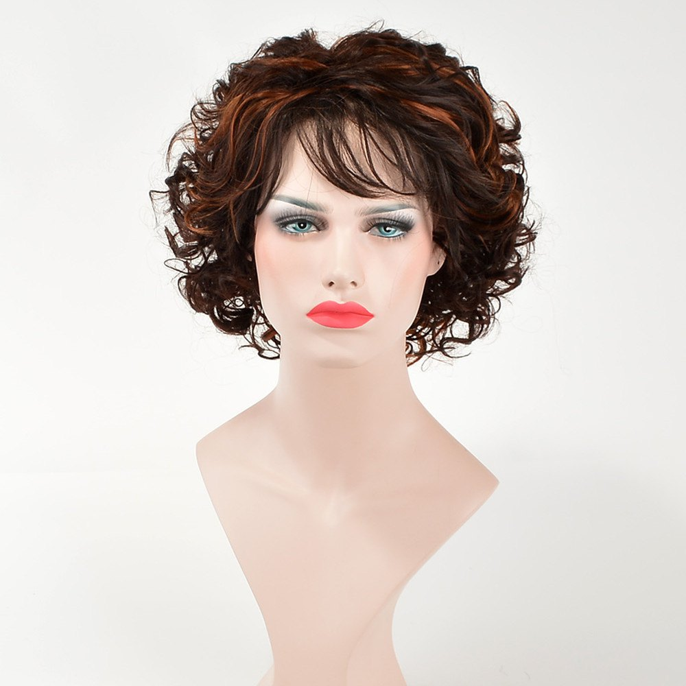 Trendy Short Brown Mixed Synthetic Fluffy Curly Side Bang Capless Wig For Women - BLACK/BROWN