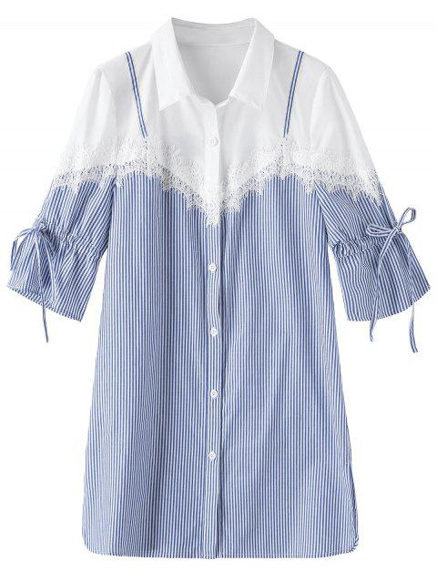 93e0edc6 41% OFF] 2019 Plus Size Lace Trim Stripe Shirt In BLUE STRIPE 2XL ...