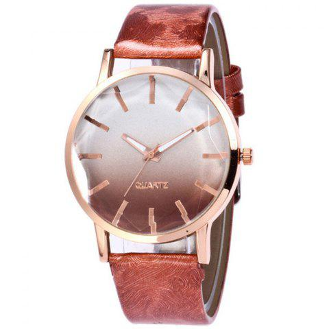 Faux Leather Strap Ombre Watch - BROWN