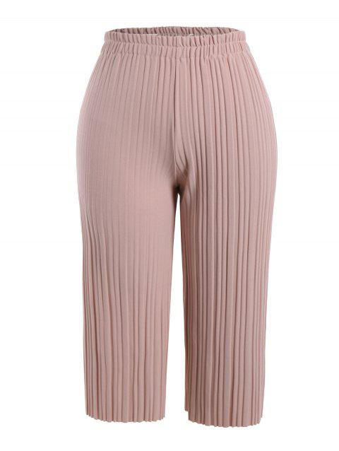 8b10707aa5864 17% OFF  2019 Wide Leg Plus Size Ninth Pleated Pants In PINK 4XL ...