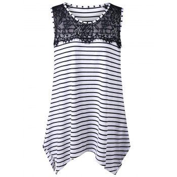 Plus Size Lace Insert Stripe Asymmetric Top