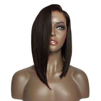 Medium Side Part Bob Straight Lace Front Synthetic Wig - BLACK/BROWN