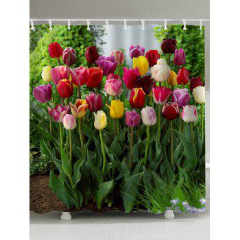 polyester fabric tulip flower shower curtain