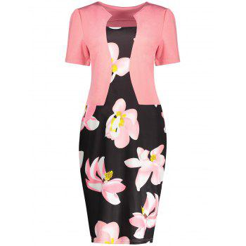 Floral Print Notched Sheath Dress