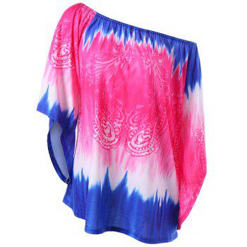Plus Size Convertible Collar Tie Dye T-Shirt