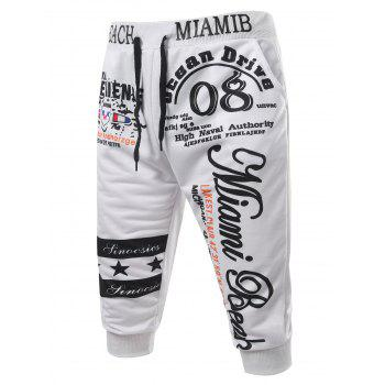 Casual Men's Lace Up Letters Printed Jogger Pants