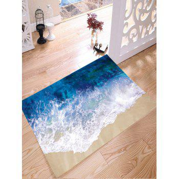 Sea Tide Print Antiskid Flannel Bath Rug