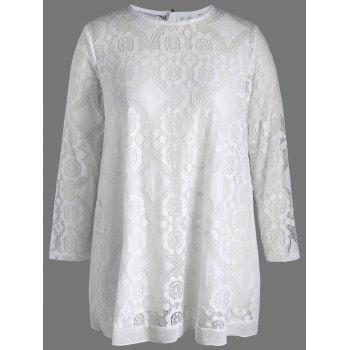 Plus Size Semi Sheer Long Sleeve Lace Blouse