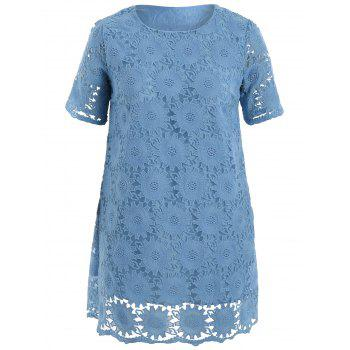 Two Layered Plus Size Scalloped Mini Lace Dress