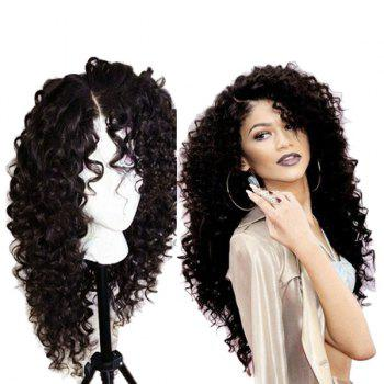Long Curly Side Parting Synthetic Lace Front Wig - NATURAL BLACK A
