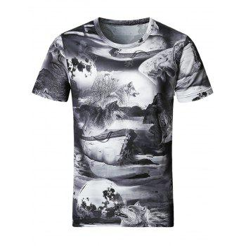 3D Wolves Print Smooth Stretchy T-Shirt