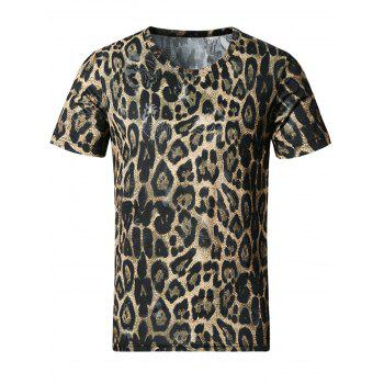 3D Leopard Print Smooth Stretchy T-Shirt