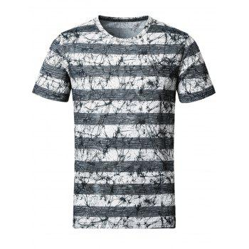 Stripe and Splatter Paint Smooth Stretchy T-Shirt