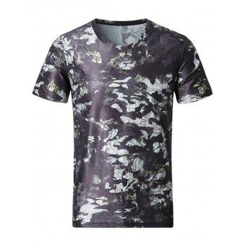 3D Tiger and Floral Print Smooth T-Shirt