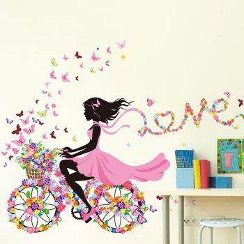 Girl Ride Floral Bike Wall Stickers