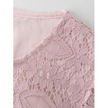 Plus Size Knee Length Lace Dress - PINK 2XL