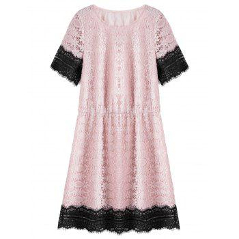Plus Size Knee Length Lace Dress - PINK 5XL