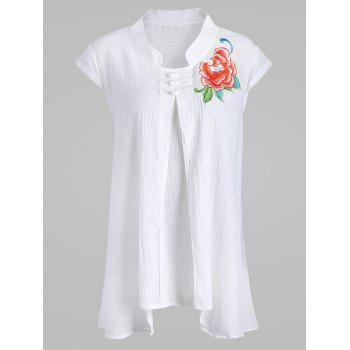 Plus Size Plate Button Embroidered Linen Asymmetric Top