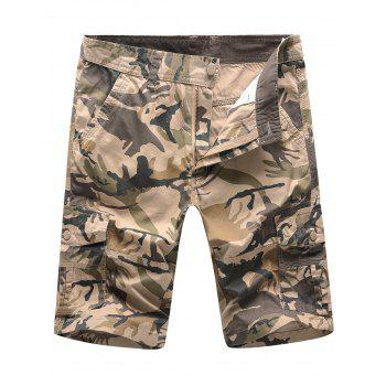 Multi Pockets Zipper Fly Camouflage Cargo Shorts