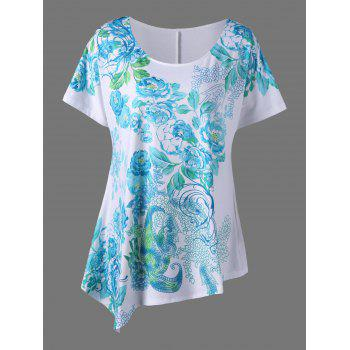 Plus Size Blossom Floral Printed Asymmetric T-Shirt