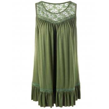 Plus Size Lace Insert Smock Tank Top