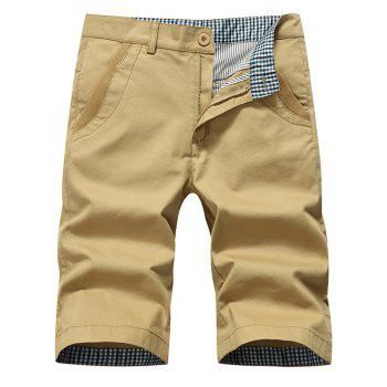 Zipper Fly Straight Chino Shorts