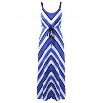 Zigzag Stripe Long Spaghetti Strap Slit Dress